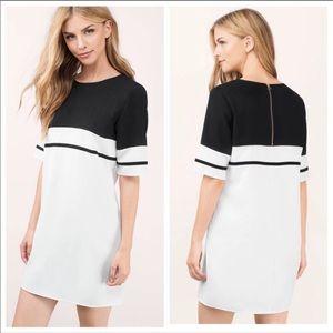 Tobi Stripe Me Black & Ivory Shift Dress